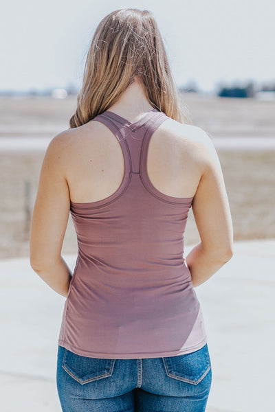 Embrace The New Racerback Tank Top in Mauve - Filly Flair