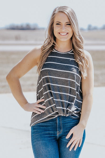 Just Keep Moving Striped Front Knot Tank Top in Charcoal - Filly Flair