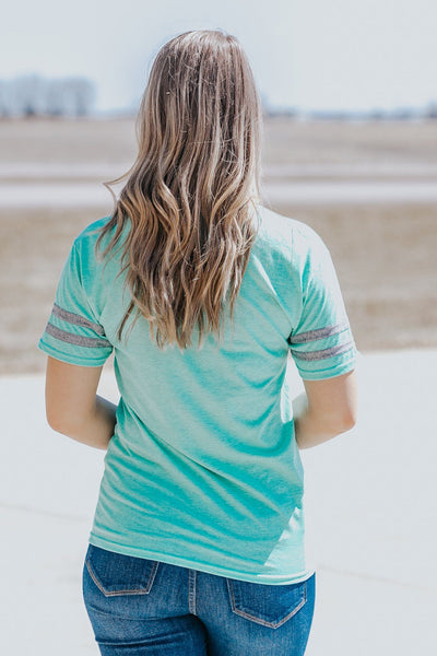 """PEOPLE PERSON"" Short Sleeve Top in Mint - Filly Flair"