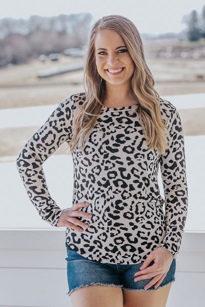 Happiness Is Here Animal Print Long Sleeve Laser Cut Back Top - Filly Flair