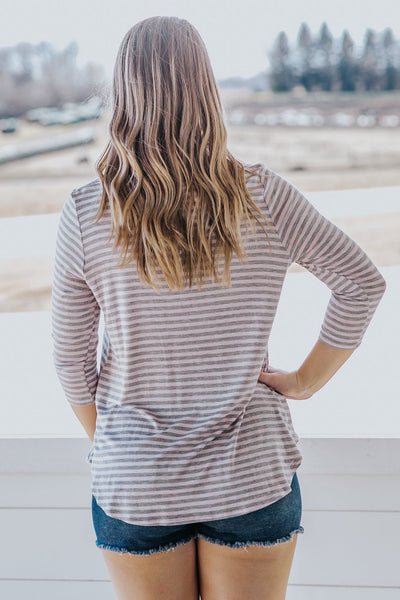 Remember to Live Striped Long Sleeve Top in Grey - Filly Flair
