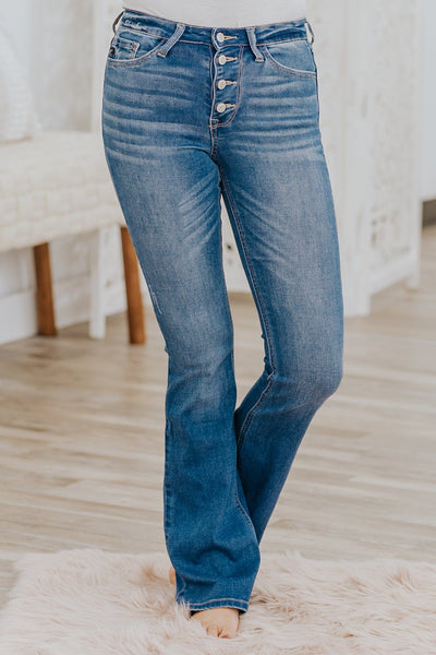 Kay Kan Can High Rise Boot Cut Jeans in Medium Wash - Filly Flair