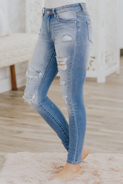 Kasey Kan Can HighRise Distress Ankle Skinny Medium Wash Jeans - Filly Flair