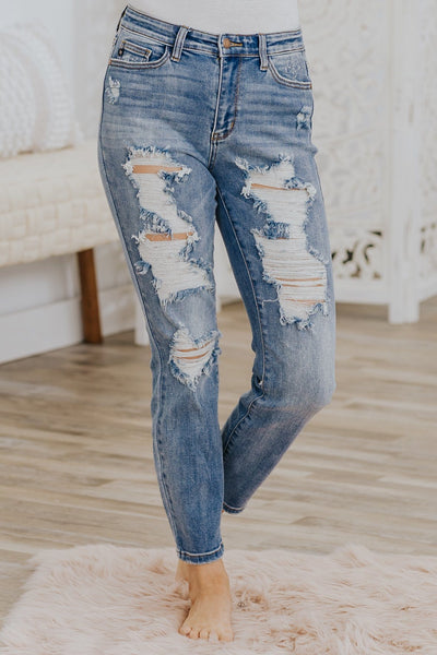 Jess Judy Blue Distressed Boyfriend Fit Light Wash Blue Jeans - Filly Flair