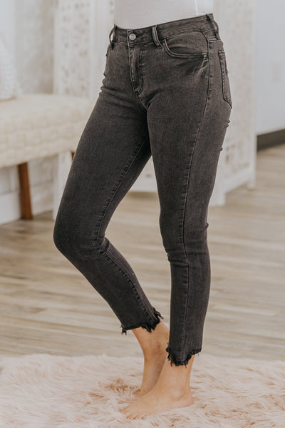 Clarke Cello High Rise Frayed Hem Washed Black Jeans - Filly Flair