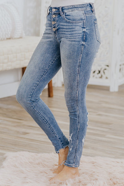 Kayleigh Kan Can High Rise Light Wash Skinny Jeans - Filly Flair