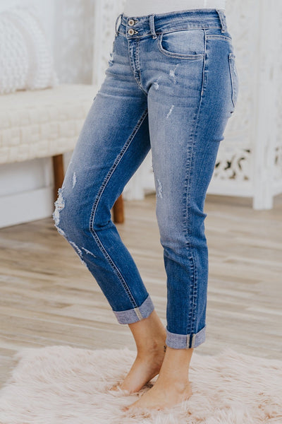 Kristi Kan Can Mid Rise Double Stacked Medium Wash Jeans - Filly Flair