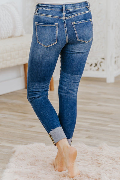 Kyra Kan Can Mid Rise Dark Wash Skinny Jeans - Filly Flair