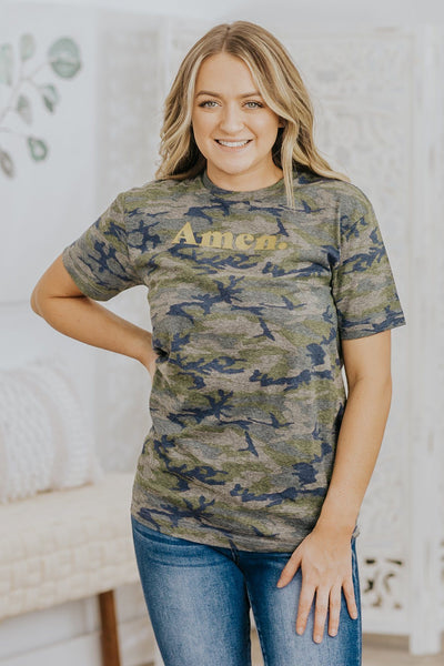 """Amen"" Short Sleeve Top in Vintage Camo - Filly Flair"