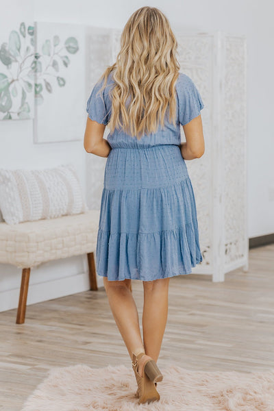 Your Story Doesn't End Here Swiss Dot Tiered Short Sleeve Dress in Denim - Filly Flair
