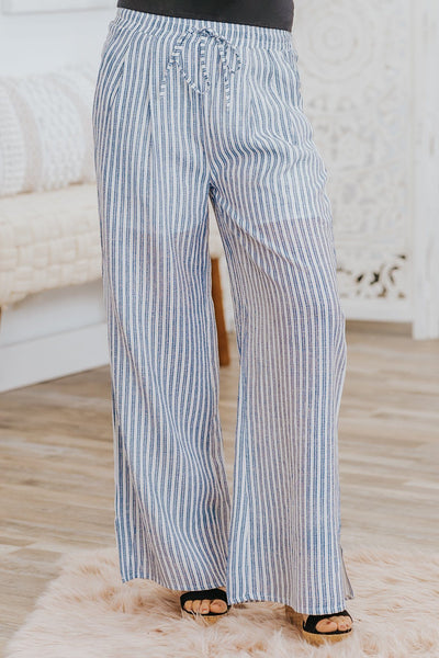 Put Your Dream To The Test Stripes Elastic Waist Pants in Navy - Filly Flair