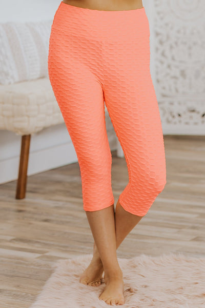 Don't Make It Complicated 3D Popcorn Cinched Detail Leggings in Neon Coral - Filly Flair