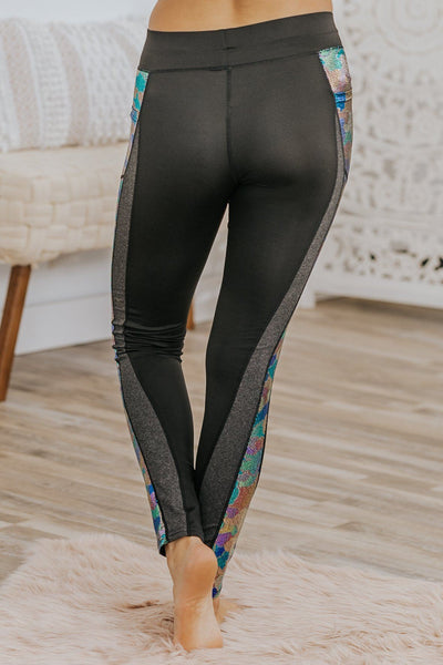 Every Moment Matter's Mermaid Print Leggings in Black - Filly Flair