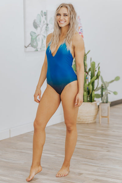 Swim To Me Ombre One Piece Swim Suit in Blue - Filly Flair
