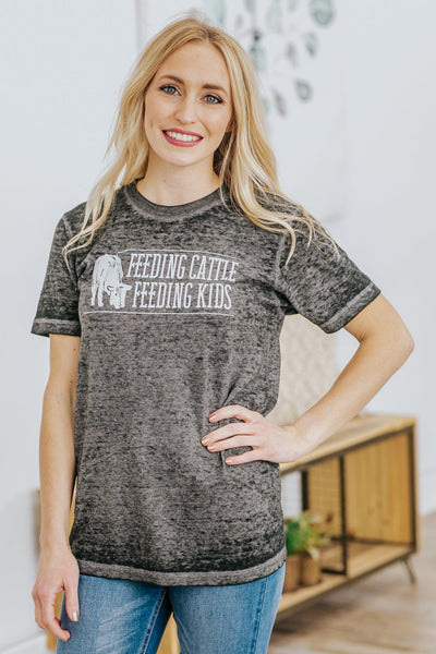 """Feeding Cattle Feeding Kids"" Graphic Short Sleeve Top in Heather Grey - Filly Flair"