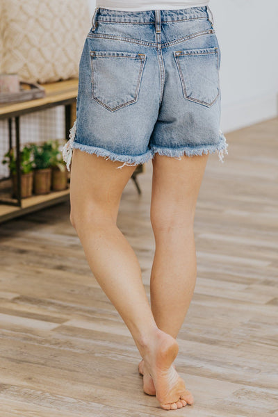 Keira Kan Can High Rise Distressed Jean Shorts in Medium Wash - Filly Flair