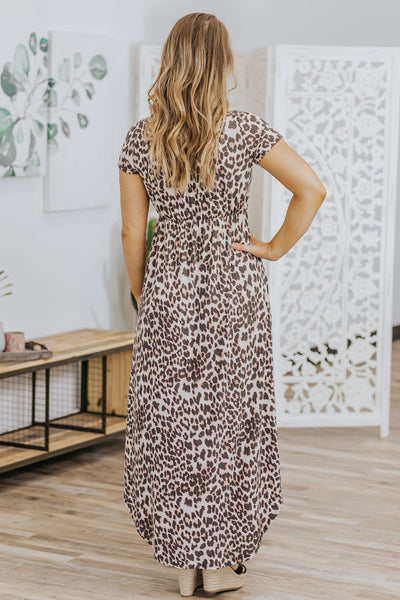 Invited To The Party Leopard High Low Short Sleeve Dress in Beige - Filly Flair