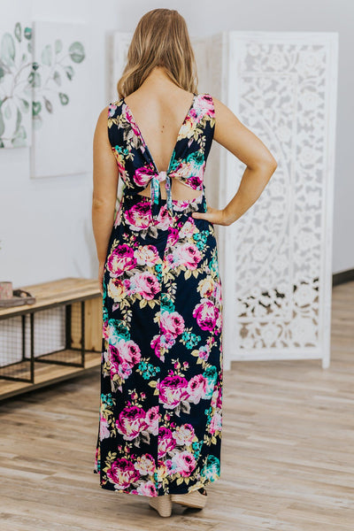 Everything's Alright Floral Print Sleeveless Dress in Navy - Filly Flair