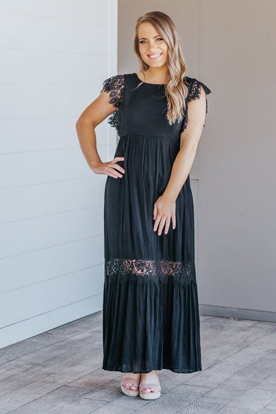 You Will Get Over It Lace Empire Waist Sleeveless Maxi Dress in Black - Filly Flair