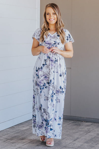 Meant To Be Short Sleeve Floral Maxi Dress in Light Blue - Filly Flair