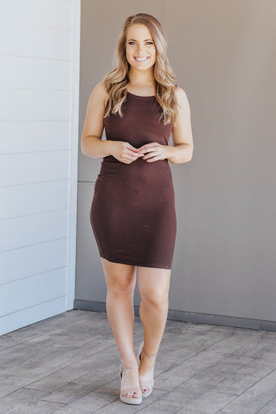 Midi Ribbed Dress Boat Neck Sleeveless in Chocolate - Filly Flair