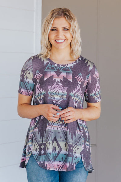 Won't You Stay With Me Aztec Detail Short Sleeve Top in Black - Filly Flair