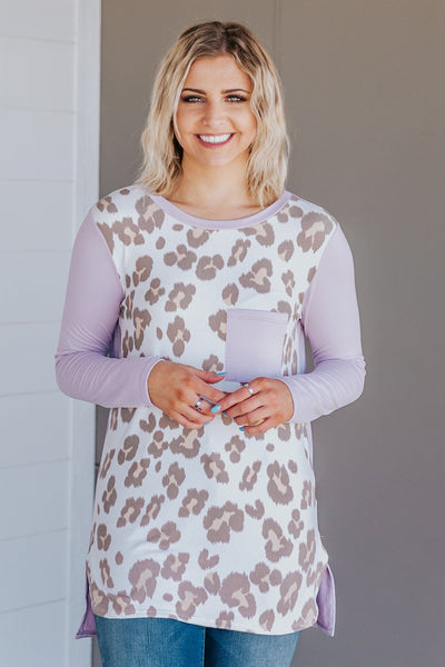 What I'm Saying Is Leopard Front Pocket Long Sleeve Top in Lilac - Filly Flair