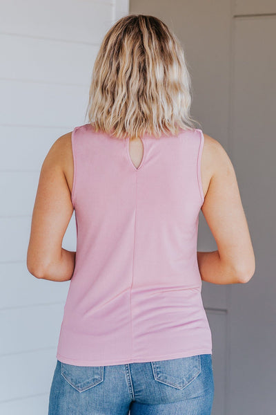 Shine On Me Pleated Sleeveless Tank Top in Pink - Filly Flair