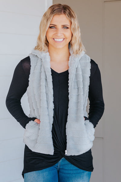 Filly Flair Exclusive: A Grateful Heart Zip Up Fur Sleeveless Vest in Grey - Filly Flair