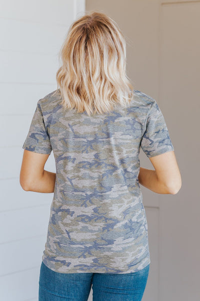 """In God We Trust""Short Sleeve Top in Camo - Filly Flair"