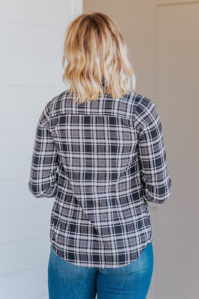 *DEAL* Finding My Roots Plaid Long Sleeve Button Down Top in Black - Filly Flair