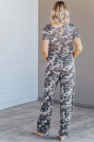 Rare To Find Short Sleeve Camo Jumpsuit in Green - Filly Flair