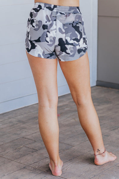 I'm Feeling Strong Nylon Camo Printed Shorts in White - Filly Flair