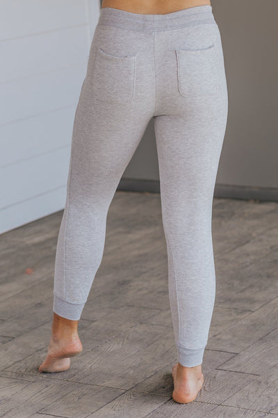 Take It On The Run Fleece Drawstring Joggers in Grey - Filly Flair