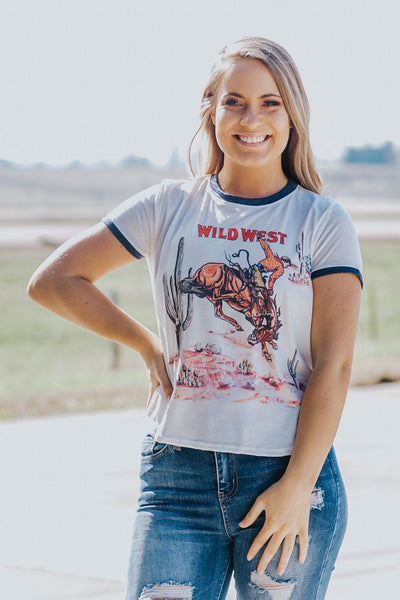 'Wild West' Desert Cowboy High Low Short Sleeve Top in White - Filly Flair