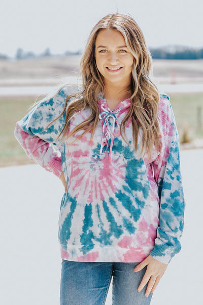 I Still Love You Tie Dye Long Sleeve Hooded Top in Pink - Filly Flair