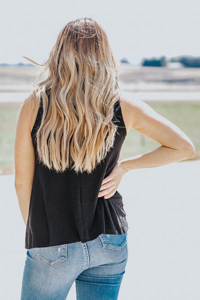 Follow Your Path Sleeveless Raw Hem Top in Black - Filly Flair