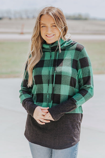 Kind Of Luck Plaid Color Block Mock Neck w/ Strings Long Sleeve Top in Green - Filly Flair