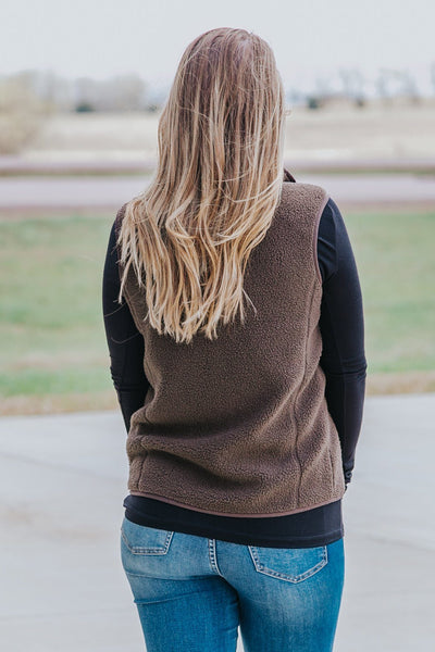 Remind Me Of Yesterday Sherpa Vest in Dark Brown - Filly Flair