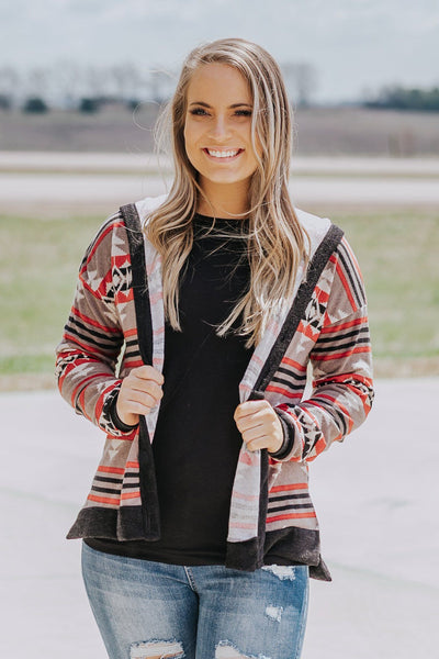 With The Other Side Aztec Button Down Long Sleeve Hoodie in Mocha - Filly Flair