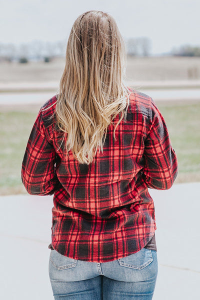 Fierce At Heart Plaid Button Down High Low Long Sleeve Top in Red - Filly Flair