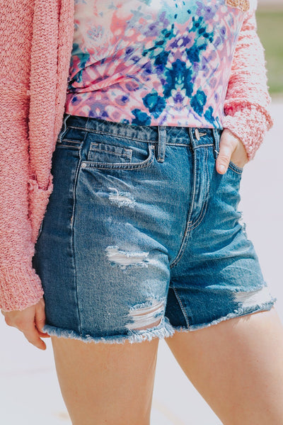 Drop In The Ocean High Rise Medium Wash Distressed Jean Shorts - Filly Flair