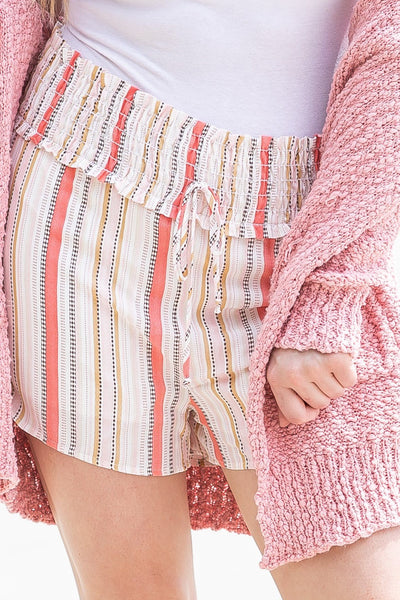 Day Dream Multi Strip Smocking Detail Waist Shorts in Coral - Filly Flair