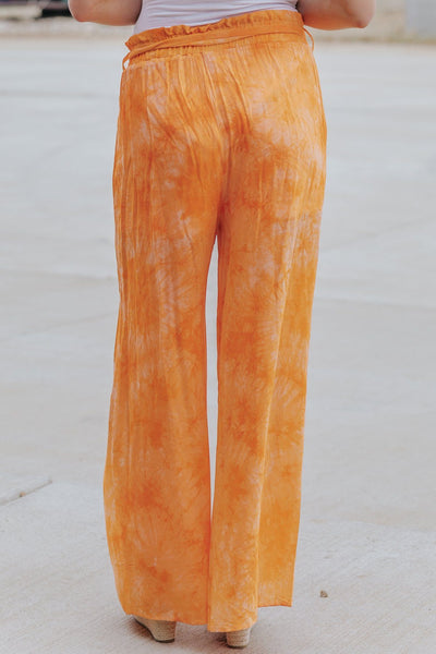 Going Crazy Tie Dye Elastic Waist Pants in Orange - Filly Flair