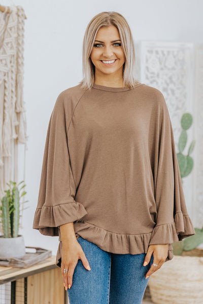 Sunday Morning Air Ruffle Hem Poncho Sweater in Brown - Filly Flair