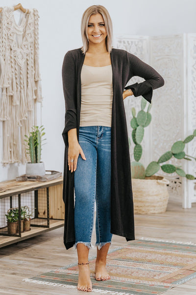 What I Really Need Wrap Neck Flare Long Sleeve Top in Black - Filly Flair