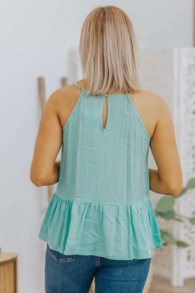 Sweetest Escape Smock Neck Ruffle Tank Top in Mint - Filly Flair