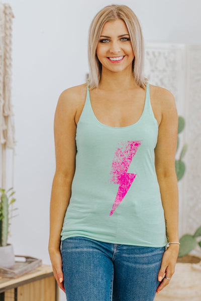 Lighting Strike Graphic Tank Top in Mint - Filly Flair