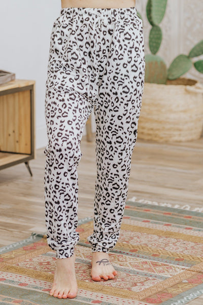 Blinded By The Light Leopard Print Elastic Waist Leggings in White - Filly Flair