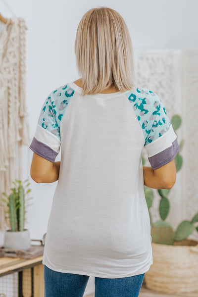 Trusting Yourself Leopard Short Sleeve Top in Ivory - Filly Flair